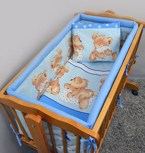 Cotton 5 Piece Crib Baby Bedding Set 90x40 Fits Rocking Cradle - Mika - babycomfort.co.uk