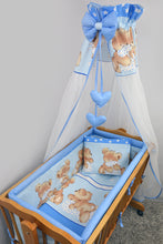Load image into Gallery viewer, 7 Pcs Crib Bedding Set with All-round Bumper 90x40 cm, Canopy & Bow - Mika - babycomfort.co.uk