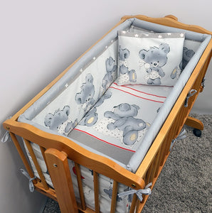 6 Pcs Crib Bedding Set with Terry sheet + All-round Bumper 90x40 cm - Pattern - babycomfort.co.uk