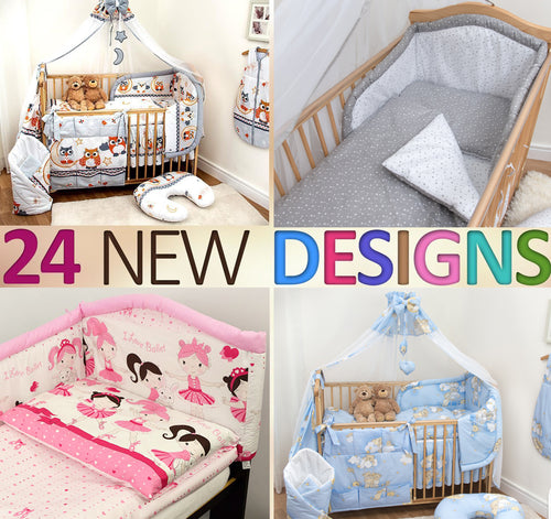 12Pcs Piece Baby Infant Bedding Set Cot CotBed Bumper, Many Patterns to Choose - babycomfort.co.uk