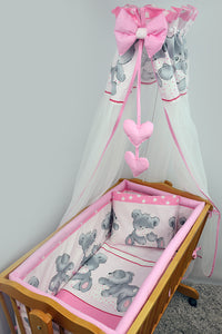 7 Pcs Crib Bedding Set with All-round Bumper 90x40 cm, Canopy & Bow - Mika - babycomfort.co.uk