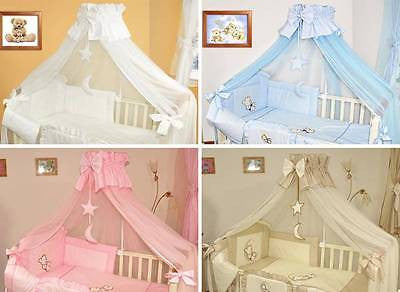 Luxury Cot Canopy with Holder / Drape Rod & Decorative Bow, Hanging Stars - babycomfort.co.uk