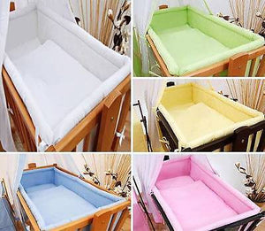 5 Piece Crib Baby Bedding Set 90 x 40 cm Fits Rocking Swinging Cradle - Plain - babycomfort.co.uk