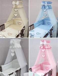 Crown Cot Canopy Mosquito Net + Rod Large Fits Nursery Cot Bed Bow & Heart - babycomfort.co.uk