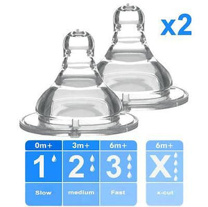 Baby Ono 2x Pcs Bottle Teat Nipple for Wide Neck Bottle - Various Flow Rates - babycomfort.co.uk