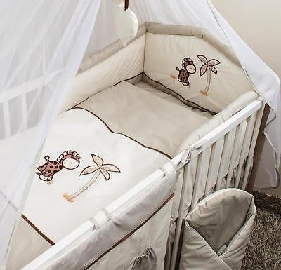 3 Piece Pcs Cot Bed Bedding Set Puffy Safety Bumper 120x60 or 140x70 Giraffe - babycomfort.co.uk