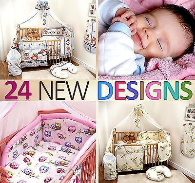 8 Piece Nursery Cot Bedding Set / Pillowcase / Duvet Cover / Bumper / Canopy - babycomfort.co.uk