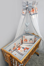 Load image into Gallery viewer, 7 Pce Crib Baby Bedding Set 90 x 40 Canopy Fits Rocking/Swinging Cradle - Print - babycomfort.co.uk