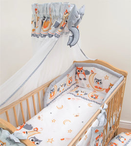 7 Piece Nursery Cot Bedding Set / Pillowcase / Duvet Cover / Bumper / Canopy - babycomfort.co.uk