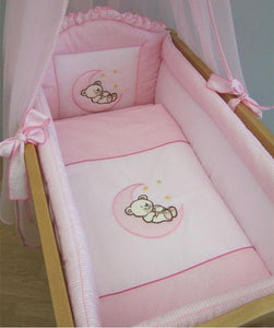9 Piece Crib Baby Bedding Set 90 x 40 cm Fits Swinging / Rocking Cradle - Moon - babycomfort.co.uk