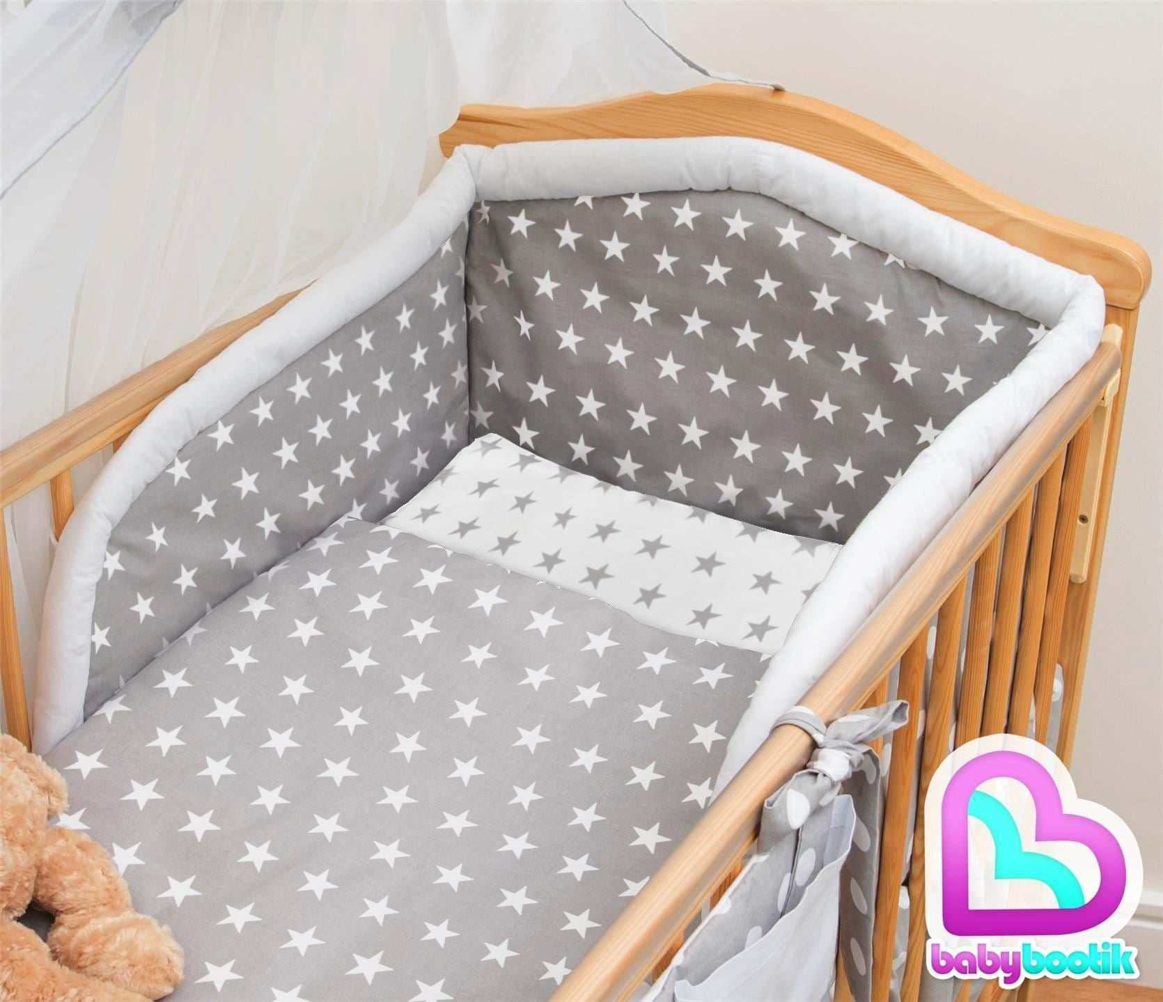 6 Piece Baby Cot Bedding Set With 4 sided Bumper to fit 120x60 cm Pattern 20