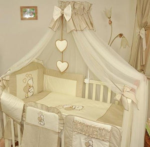 Stunning Baby Canopy Mosquito Net 480cm + Floor Stand Holder Fits Cot Bed Heart - babycomfort.co.uk