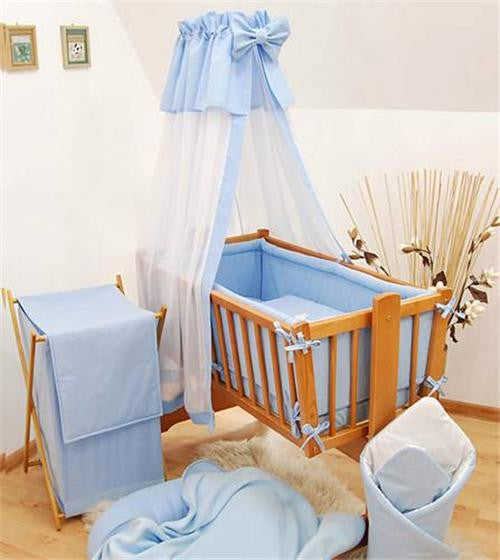 8 Piece Crib Baby Bedding Set 90x40 Fits Nursery Rocking / Swinging Cradle Plain - babycomfort.co.uk