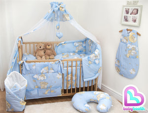 12 Piece Cot Bedding Set with Padded Safety Bumper Fits Cot 120x60cm or Cot Bed 140x70cm - babycomfort.co.uk