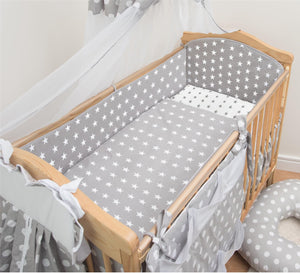 6 Piece Baby Nursery Cot Bed Long All Round Bumper Bedding Set + Jersey Sheet - babycomfort.co.uk