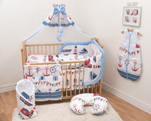Load image into Gallery viewer, 14 Pcs Bedding Set Padded Safety Bumper Canopy Fits Cot 120x60 cm / Cot Bed 140x70 cm, - babycomfort.co.uk