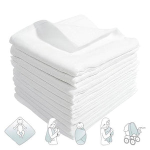 Large Muslin Square Cloth 70x80 Baby Reusable Nappy Wipes Bibs 100% Cotton White - babycomfort.co.uk