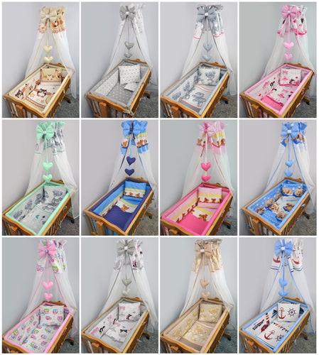 8 Piece Nursery Baby Crib Bedding Set 90x40 cm Fits Rocking Swinging Crib Print - babycomfort.co.uk