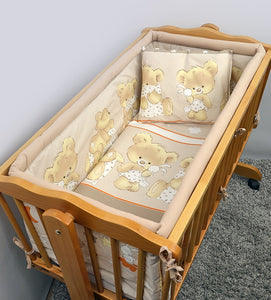 6 Pcs Crib Bedding Set with Terry sheet + All-round Bumper 90x40 cm - Mika - babycomfort.co.uk