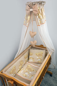 7 Pce Crib Baby Bedding Set 90 x 40 Canopy Fits Rocking/Swinging Cradle - Print - babycomfort.co.uk