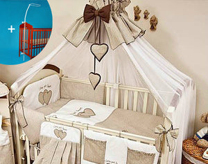 Crown Baby Canopy/ Drape/ Mosquito Net + Stand Large 480 cm For Cot Bed Heart - babycomfort.co.uk