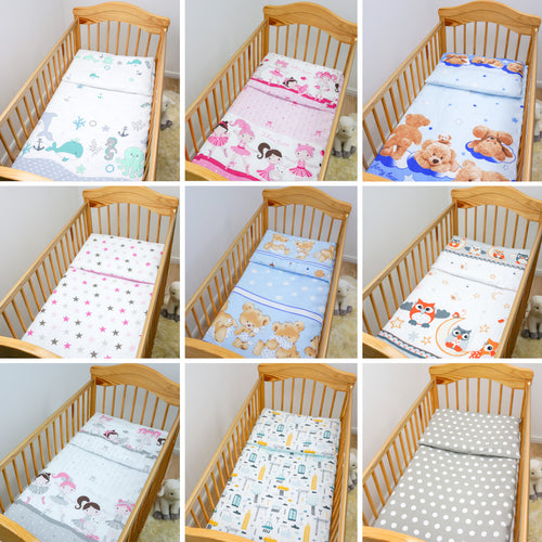 4 Piece Pcs Duvet & Pillow + Cover Set Baby Quilt Bedding to fit Cot Cot Bed