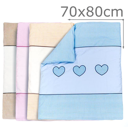 EMBROIDERED QUILT / DUVET FILLING FITS CRIB / PRAM  - LOVE HEART - babycomfort.co.uk