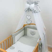 Load image into Gallery viewer, 7 Piece Embroidered Baby Canopy Bedding Set For Cot / Cot Bed - Hearts
