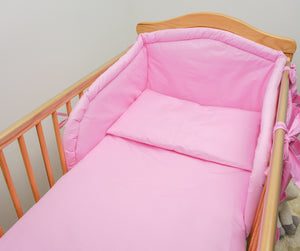 3 Piece Baby Bedding Set with Thick Bumper to fit 140x70cm Cot Bed - Plain