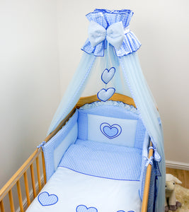 7 Piece Embroidered Baby Canopy Bedding Set For Cot / Cot Bed - Hearts