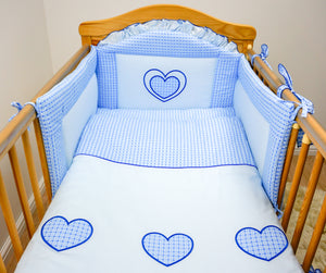 5 Piece pcs Baby Nursery Bedding Cot Cot Bed Bumper Set - Heart Embroidery