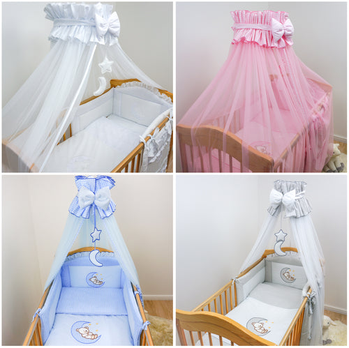 11 Pcs Embroidered Baby Canopy Bedding Set For Cot/ Cot Bed - Bear & Moon