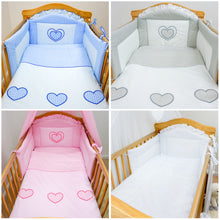 Load image into Gallery viewer, 5 Piece pcs Baby Nursery Bedding Cot Cot Bed Bumper Set - Heart Embroidery