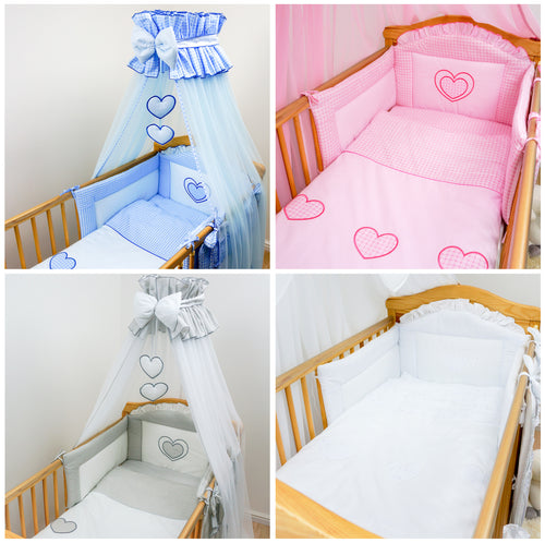 8 Piece Cot Bedding Set / Baby Canopy, Bumper Fits Cot Bed - Hearts