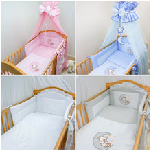 Load image into Gallery viewer, 7 Piece Nursey Cot Bed Bedding Set Baby Toddler Duvet Bumper Canopy Teddy & Moon