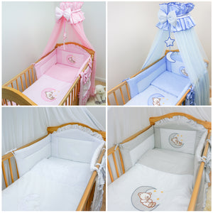 7 Piece Nursey Cot Bed Bedding Set Baby Toddler Duvet Bumper Canopy Teddy & Moon