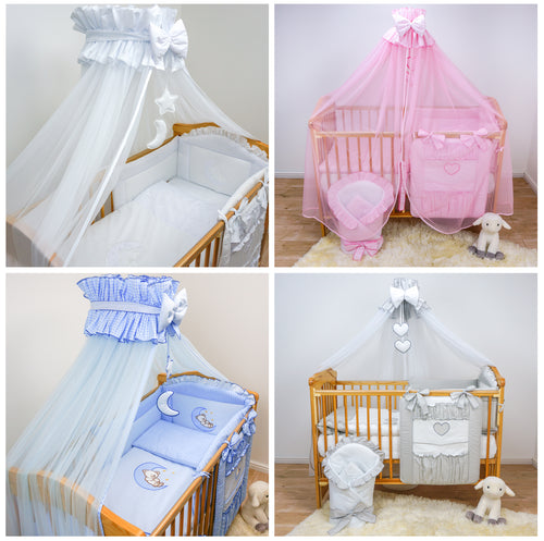 13 Piece Baby Bedding Set with Cot Organiser Drape Swaddle Wrap to fit 120x60cm Cot / 140x70cm Cot Bed
