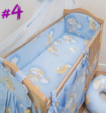 Load image into Gallery viewer, 6 Piece Baby Nursery Cot Bed Long All Round Bumper Bedding Set + Jersey Sheet - babycomfort.co.uk