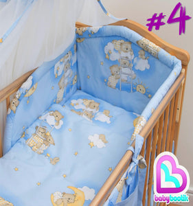 6 Piece pcs Baby Bedding Set Nursery Bumper To Fit Cot 120x60 Cot Bed 140x70 - babycomfort.co.uk