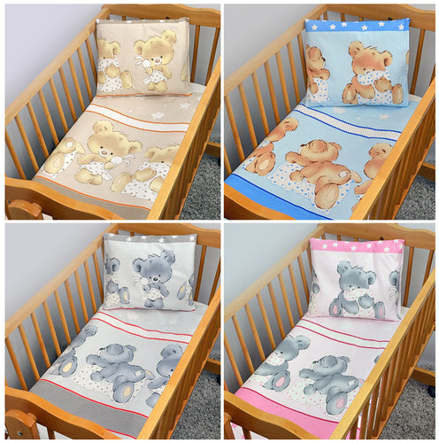 4 Pcs Crib Set 70x80 cm, Quilt & Pillow Covers - Mika