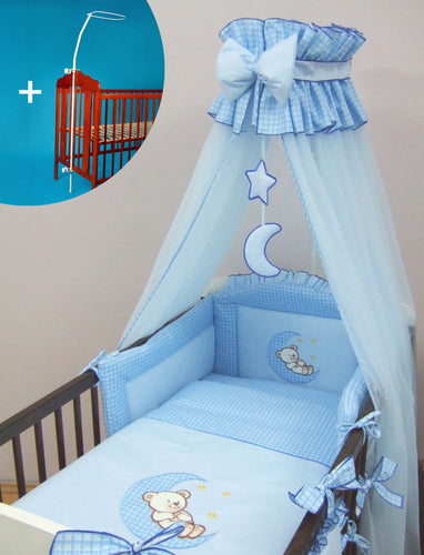 BABY CANOPY /DRAPE 480cm WIDTH + HOLDER Fits COT BED - BLUE CHECK STAR - babycomfort.co.uk