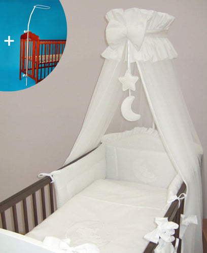 CANOPY + HOLDER 480cm WIDTH FIT BABY COT /COTBED - Cover 4 sides WHITE/M - babycomfort.co.uk