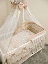 Load image into Gallery viewer, 7 Pcs Baby Bedding Set with Cot Canopy, Padded Thick Bumper 180cm, 120x60cm - Mika - babycomfort.co.uk
