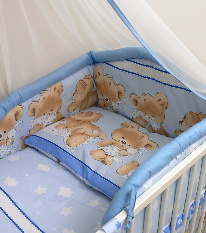 6 Pcs Baby Cot Bed Bedding with Padded Thick Bumper & Fitted Sheet, 140x70 cm - Mika - babycomfort.co.uk