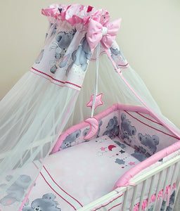 7 Pcs Baby Bedding Set with Cot Canopy, Padded Thick Bumper 180cm, 120x60cm - Mika - babycomfort.co.uk