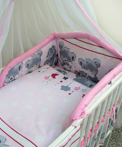 5 Pcs Baby Bedding Set, Padded Safety Bumper Fits Cot Bed 120x60 cm - Mika - babycomfort.co.uk