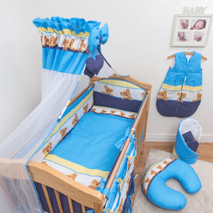 14 Pcs Bedding Set Padded Safety Bumper Canopy Fits Cot 120x60 cm / Cot Bed 140x70 cm, - babycomfort.co.uk