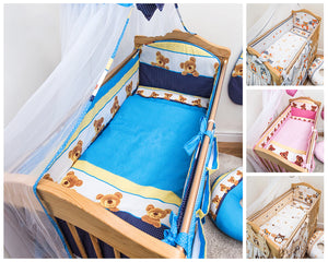 5 Piece Baby Bedding Set Nursery Cot Cot Bed Long All Round Padded Bumper - babycomfort.co.uk