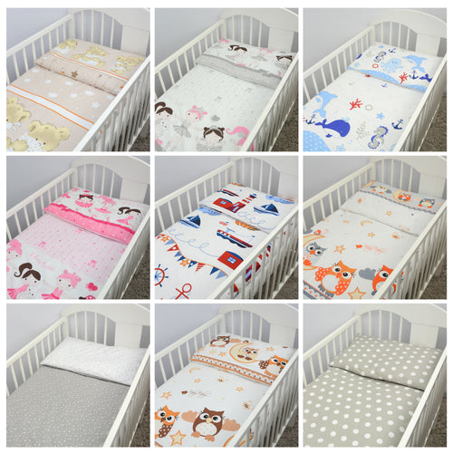 2 piece Quilt & Pillow Filling Set Fits Crib Pram Cot Baby Nursery Bedding - babycomfort.co.uk