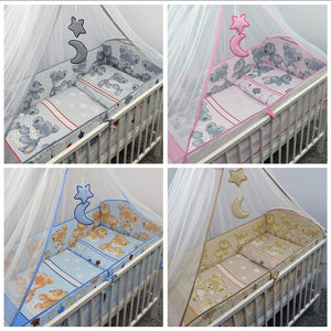 6 Pcs Nursery Baby Cot Bed Bedding Set, All-Round Bumper 420cm, 140x70cm - Mika - babycomfort.co.uk